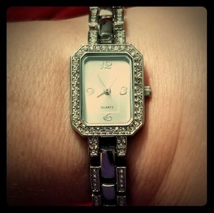 Silver Link Watch, Rectangle Face, Clear Stones